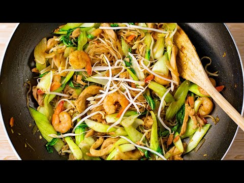 Keto Recipe - Stir Fry Singapore Noodles with Chicken & Shrimp - (Low-Carb Healthy & Easy)