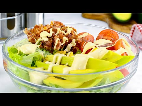 Keto BLT Salad Recipe - Low Carb Meal with 47g of Healthy Fats, 5g Net Carbs & 10g Protein (Easy)