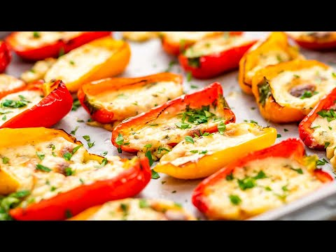 Keto Queso Stuffed Peppers Recipe - Low Carb Cheesy & Delicious Mini Pepper Finger Food (Easy)