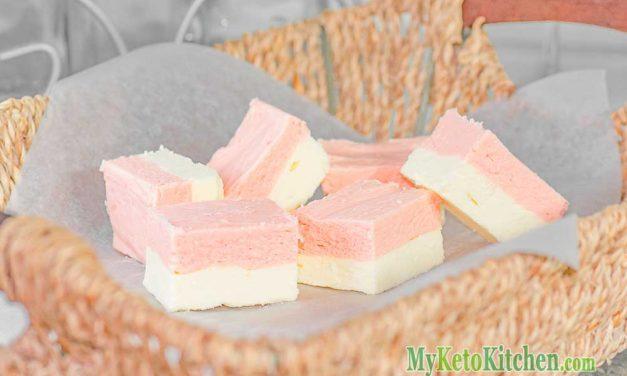Keto Strawberry Fudge Recipe with Vanilla Cream Cheese
