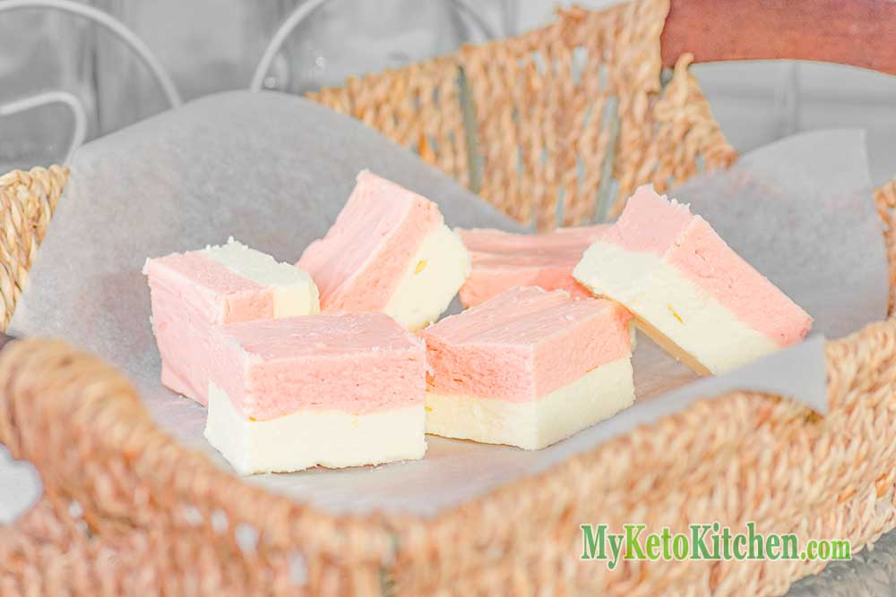 Vanilla Strawberry Keto Christmas Fudge