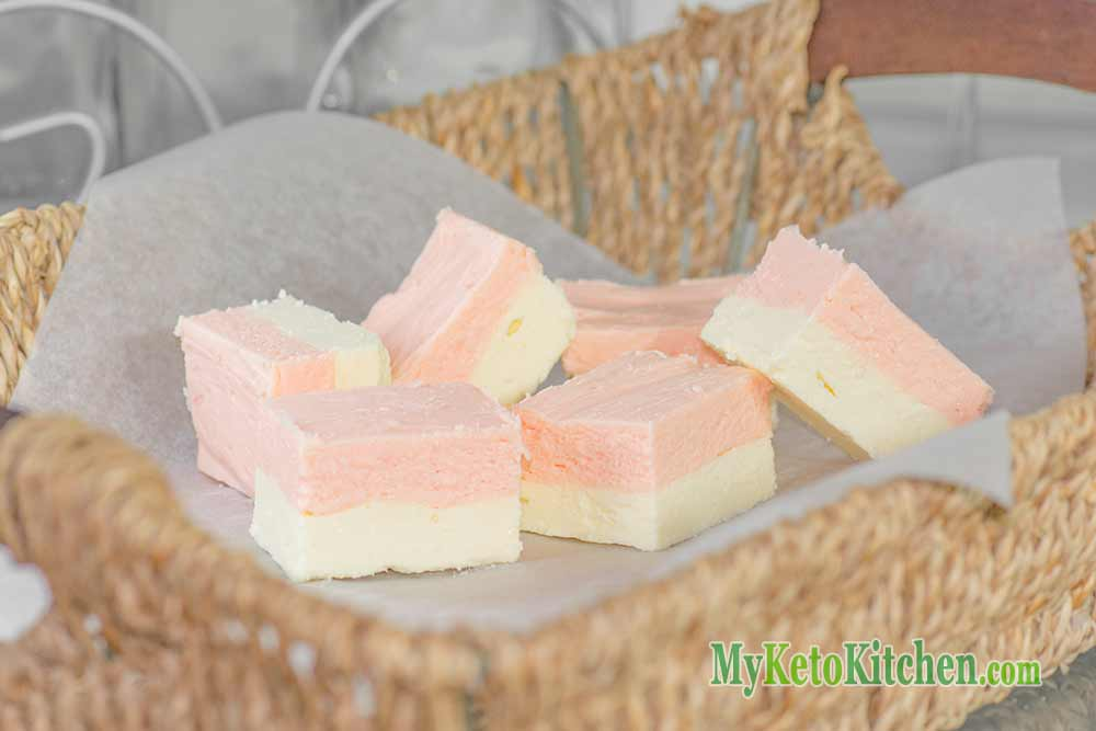 Low Carb Vanilla Strawberry Fudge Fat Bombs