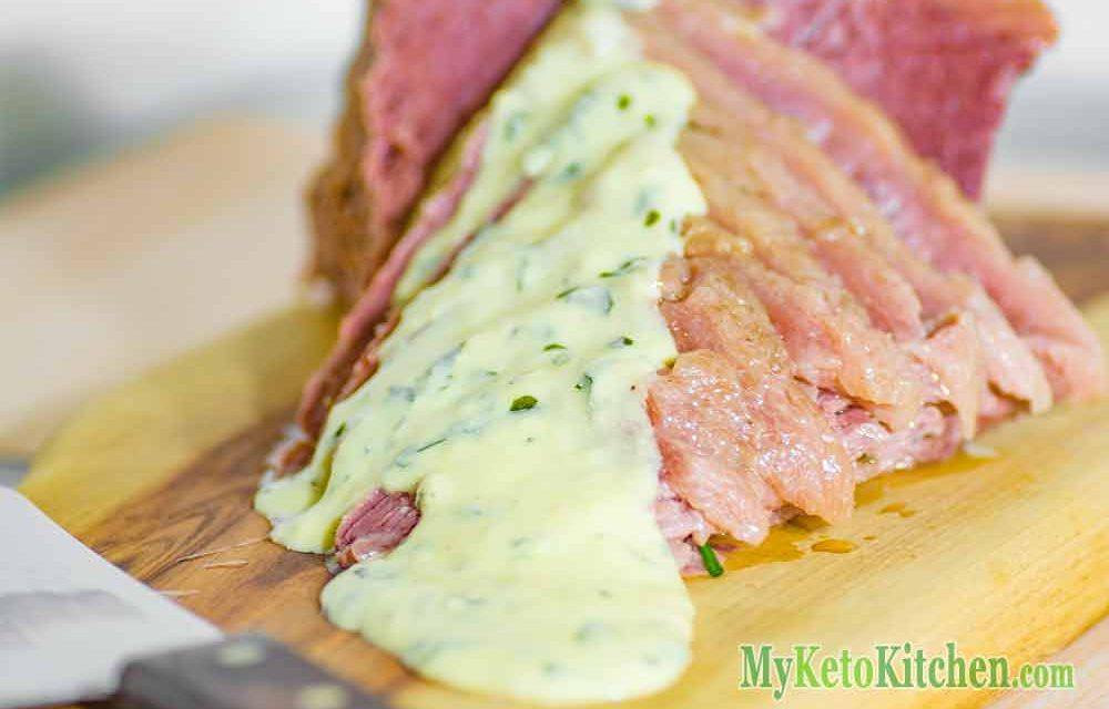 Homemade Corned Beef with Low Carb Mustard Sauce