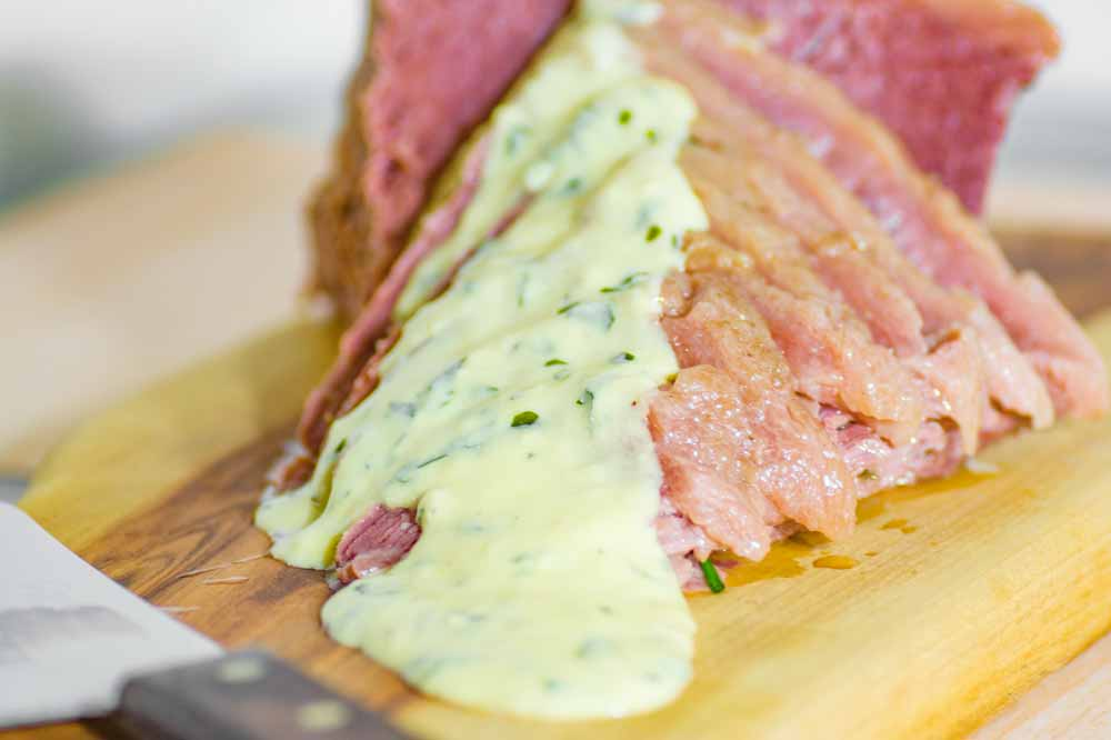 Sliced Corned Beef with Keto Mustard Sauce Xmas Dinner