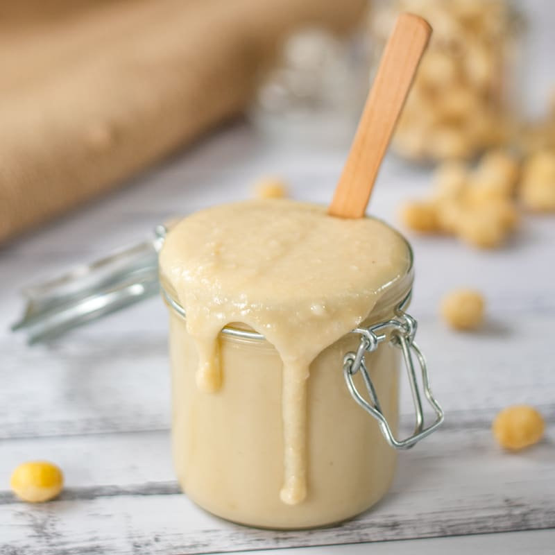 Keto Macadamia Butter in a glass jar