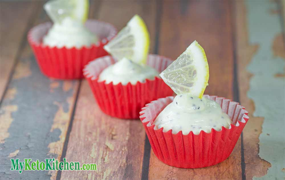 Three Low Carb Lemon and Poppyseed Fat Bomb Cups