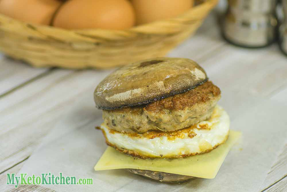 Low Carb Sausage and Egg Mushrooms Ketogenic Breakfast