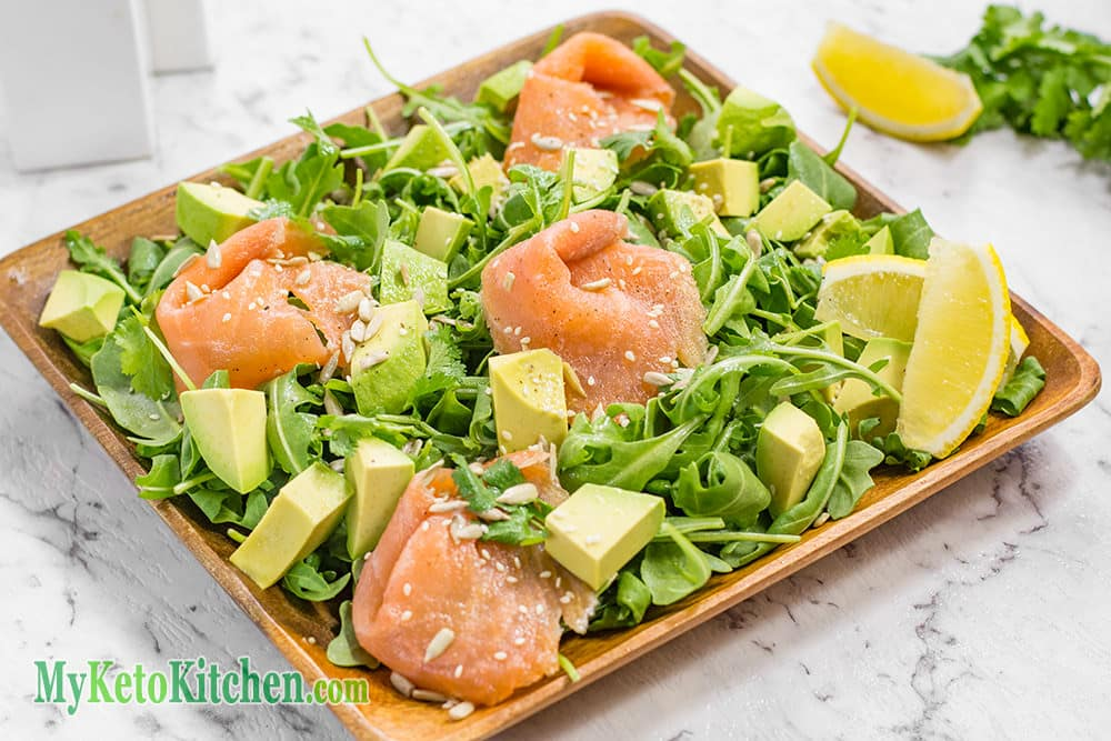 Smoked Salmon, Avocado Keto Salad (Low Carb, Keto, Paleo, Gluten Free)