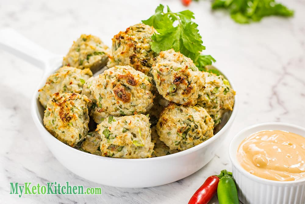 Low Carb Thai Chicken Meatballs with Dipping Sauce
