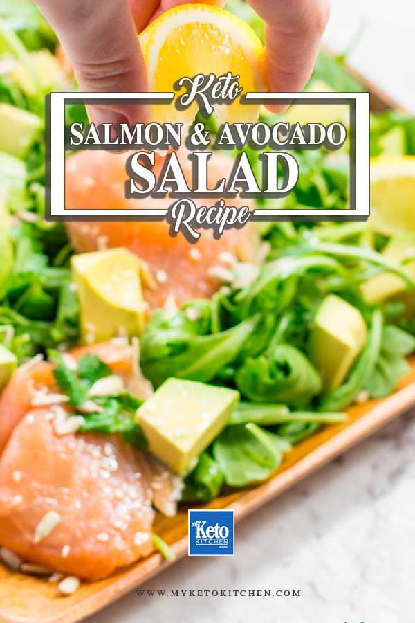 Salmon, avocado and rocket salad.
