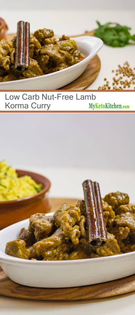 Low Carb Nut-Free Lamb Korma Curry (Gluten Free, Keto)