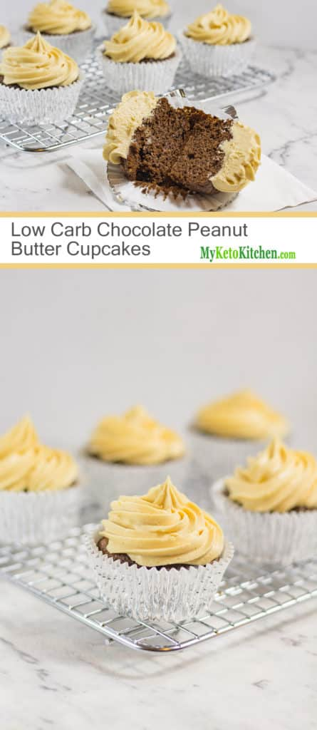 Low Carb Chocolate Peanut Butter Cupcakes (Gluten Free, Grain Free, Keto)