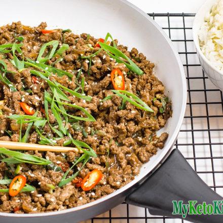 Low Carb Sticky Korean Ground Beef Stir Fry