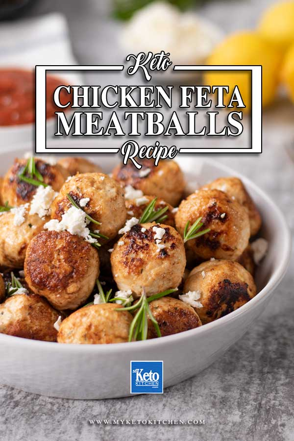 Low Carb Chicken Meatballs in a white bowl