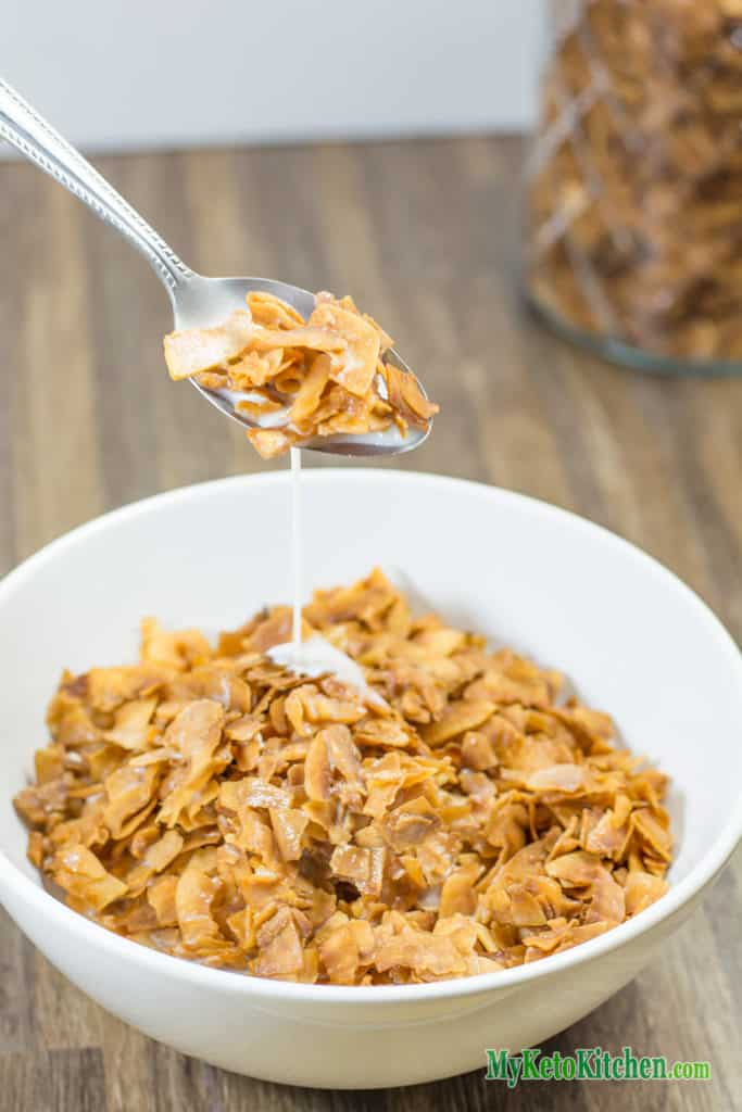 Low Carb Coconut Frosted Flakes Breakfast Cereal