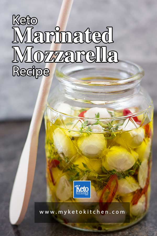 Keto Marinated Bocconcini in a glass jar