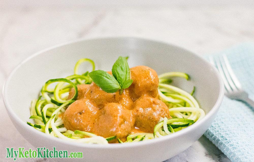 Keto Italian Meatballs – Basil & Parmesan Served with Zoodles!