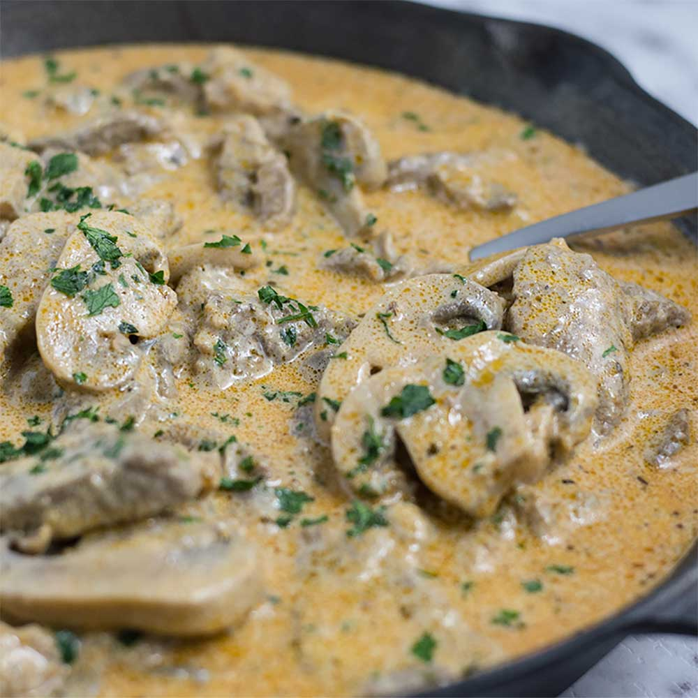 "Slow Cooker Ground Beef Stroganoff Recipe: Low Carb ""Rich & Creamy"