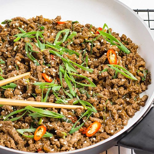 Keto Ground Beef Recipe - Sticky Korean Stir Fry