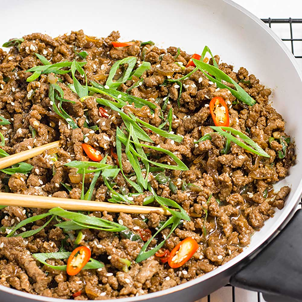 Keto Sticky Korean Ground Beef Stir Fry