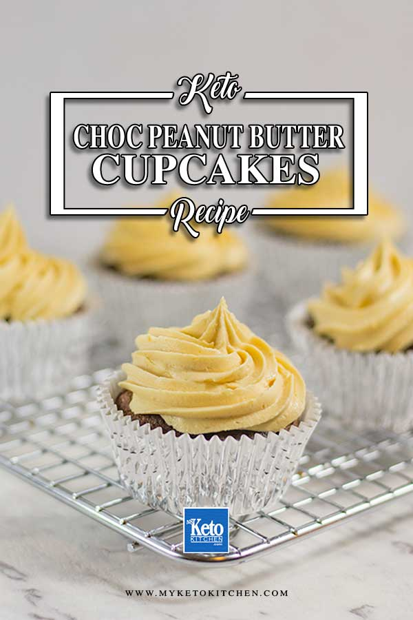 Sugar-Free Chocolate Peanut Butter Cupcakes on a wire cake rack