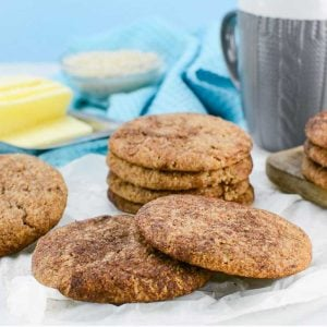 Keto Snickerdoodle Cookies stacked in a pile