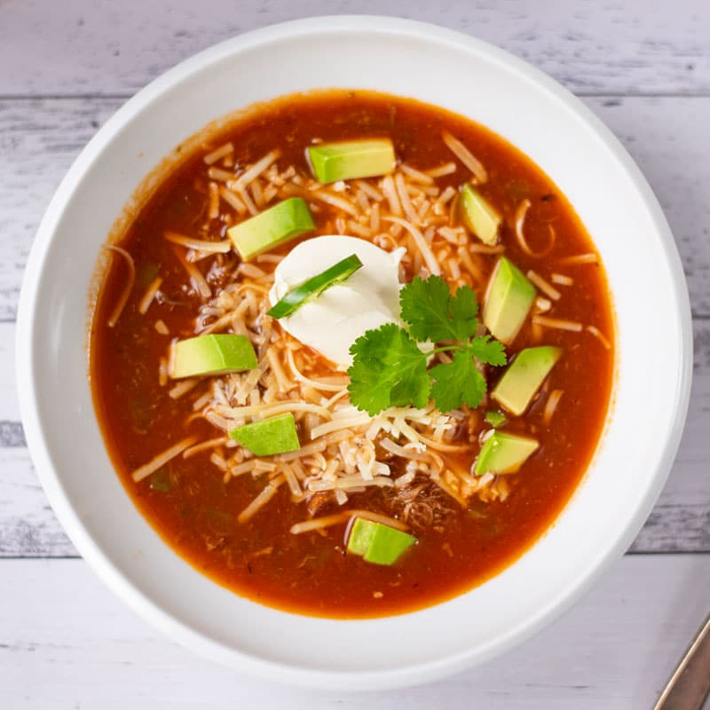 Keto Taco Soup in a white bowl