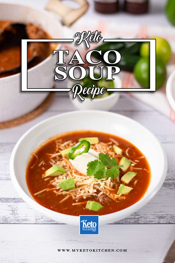 Low Carb Taco Soup in a white bowl