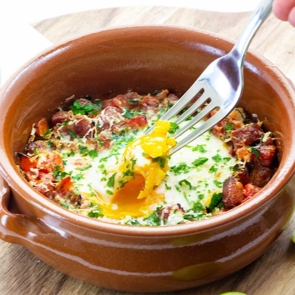 Keto Spanish Baked Eggs in a tapas dish