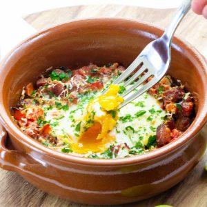 Keto Spanish Bakeda Eggs in a tapas dish