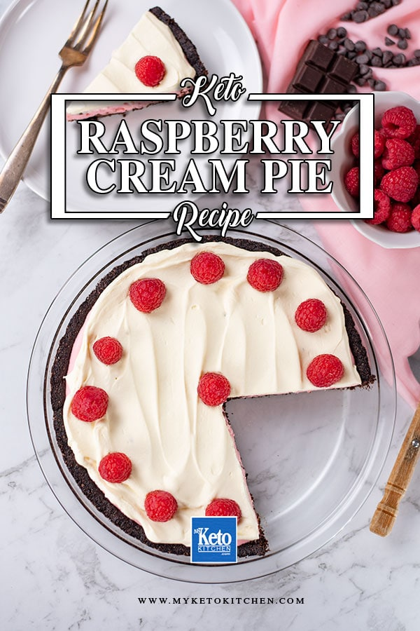 Sugar-Free Raspberry Cream Pie in a glass pie dish with a slice missing