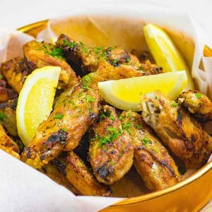 pan fried keto chickens wings recipe being served