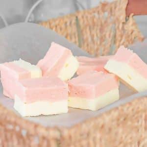 Keto Strawberry Vanilla Fudge in a basket