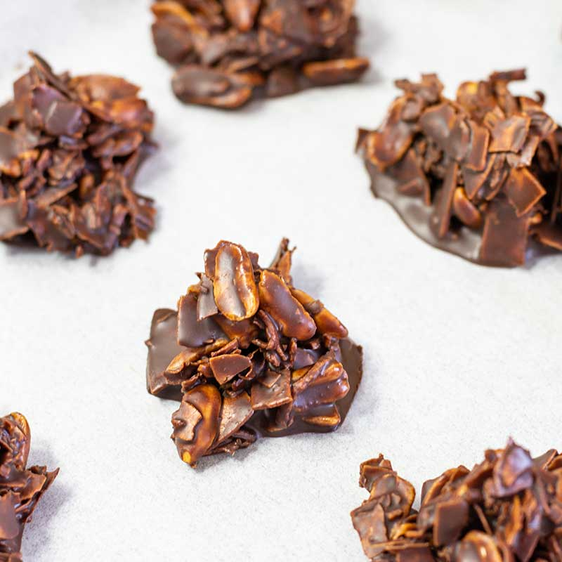 Keto Chocolate Haystacks on parchment paper