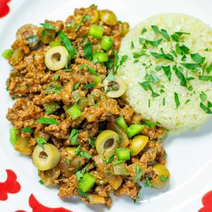 Keto Cuban Picadillo on a plate with cauliflower rice