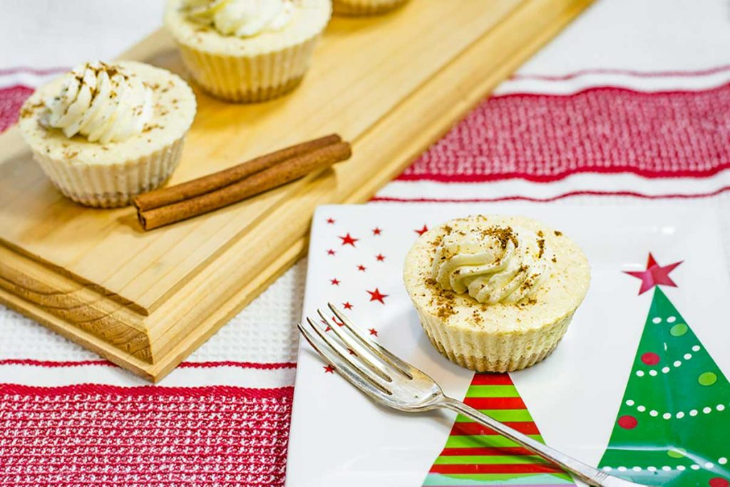 Keto Eggnog Cheesecakes on a Christmas plate
