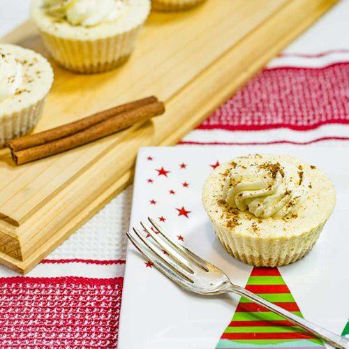 Keto Eggnog Cheesecakes on a Christmas plate