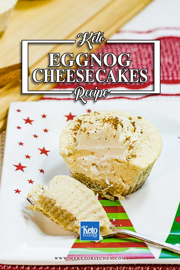 Tasty Keto Eggnog Cheesecakes on a Christmas plate