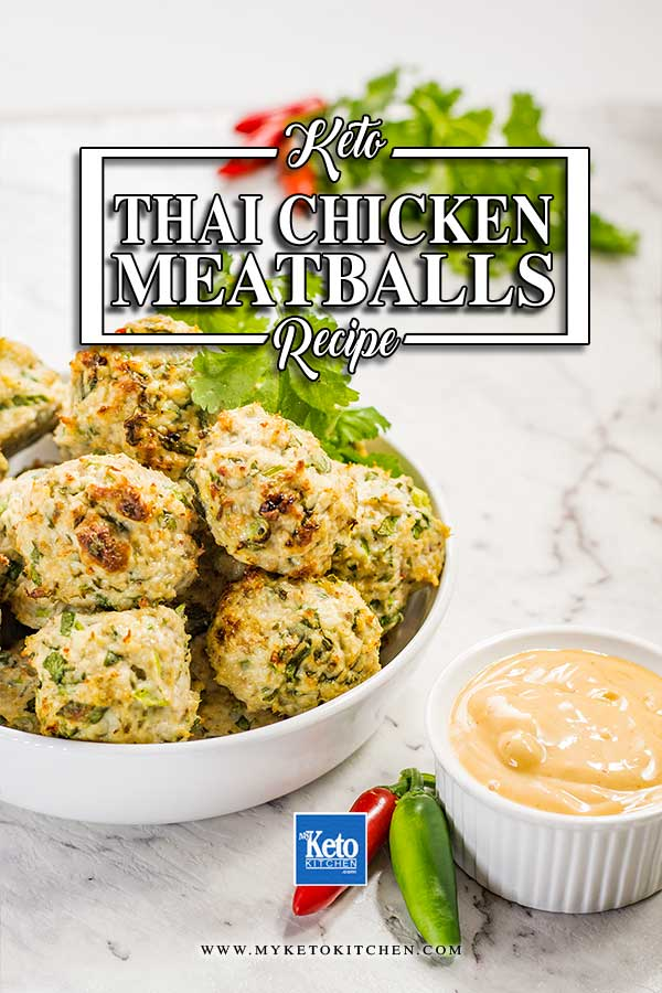 Keto Thai Chicken Meatballs in a bowl