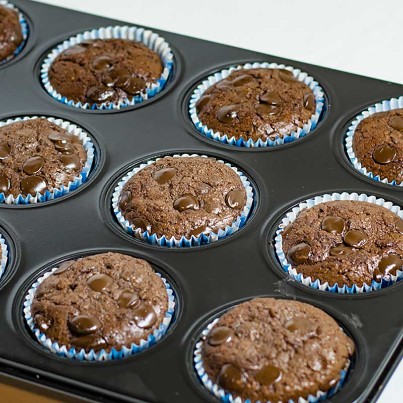 Keto Chocolate Muffins in a muffin pan