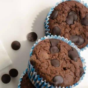 Keto Chocolate Muffins on a white plate