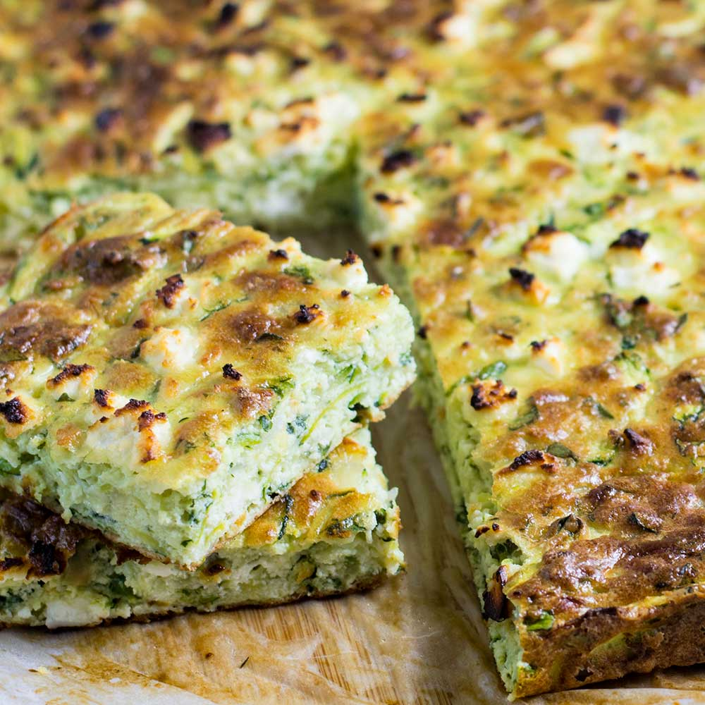 "Keto Zucchini Slice with ""Cheddar & Feta"" - Easy Bake!"