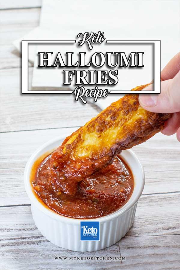 Keto Halloumi Fries dipped in Keto Marinara Sauce