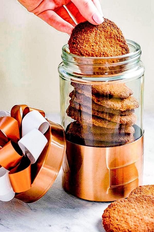 Keto Ginger Snap Cookies in a jar