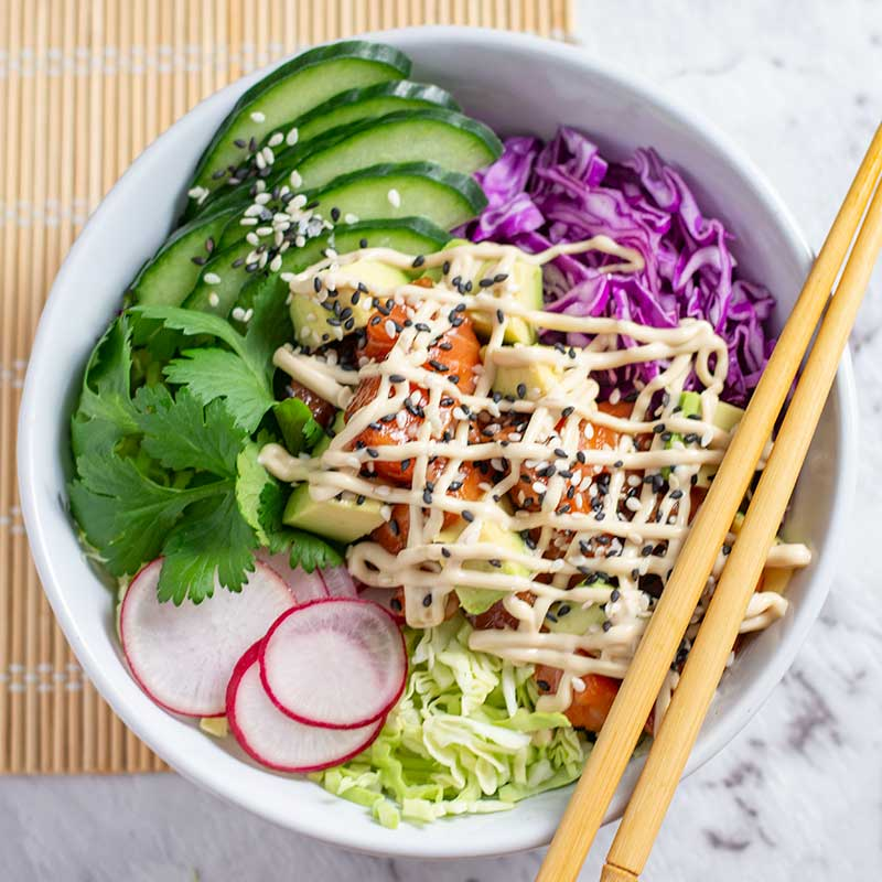 Keto Salmon Poke Bowl Recipe