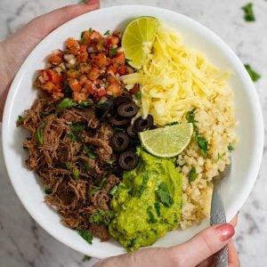 Keto Beef Burrito Bowl - delicious Mexican recipe