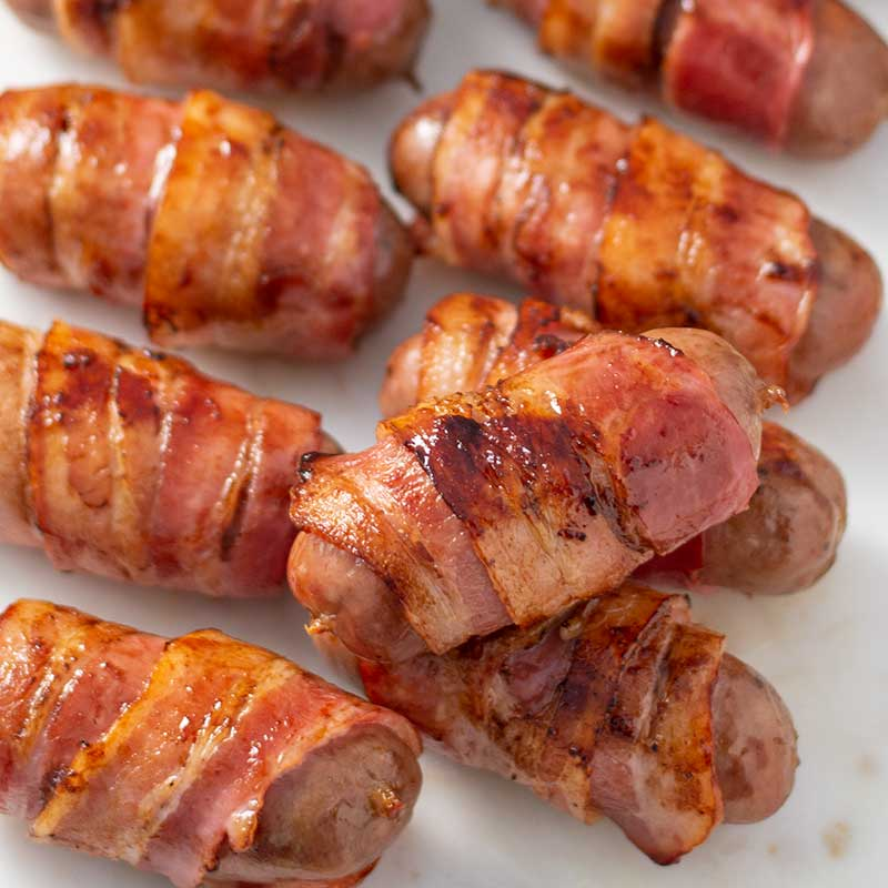 Keto Pigs in Blankets - yummy bacon wrapped sausages recipe