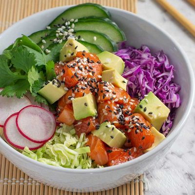 Keto Salmon Poke Bowl – Low Carb Salad Recipe