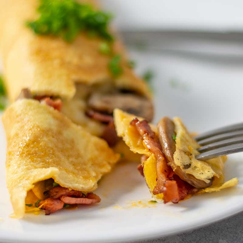 Keto Bacon & Mushroom Omelet- ready to be served