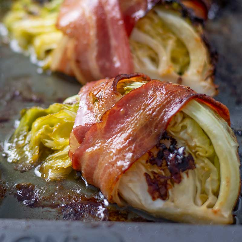Keto Bacon Wrapped Cabbage Easy Low Carb Side Dish Recipe
